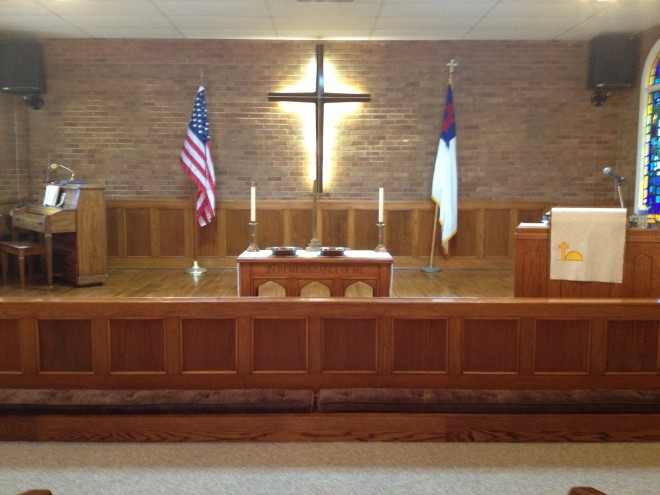 The communion rail and altar table at Pine Ridge UMC