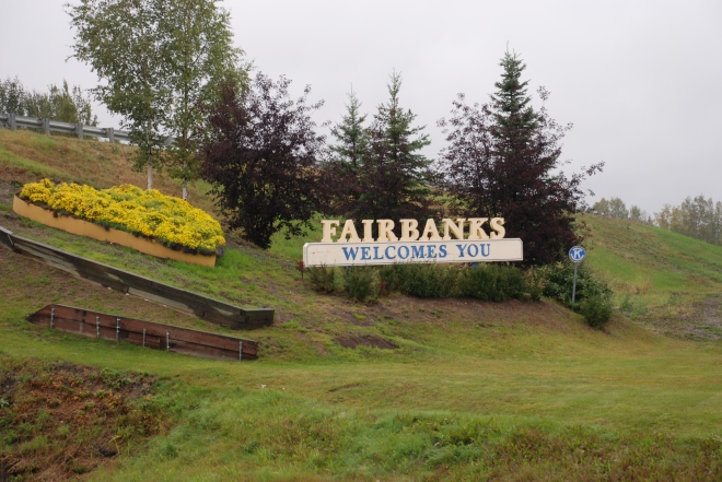 Sign welcoming us to the City of Fairbanks