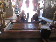 The Stone of Unction at the entry of the Church of the Holy Sepulcher.
