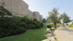 Walls and stone pathway that surround the Old City of Jerusalem.